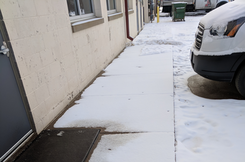 anti-icing ice management on a sidewalk in Minneapolis as a pre-treatment